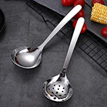 Cooking spoon 1pcs Thicken Stainless Steel Gravy Ladle Spoon Colander Hot Pot Large Soup Spoons Household Kitchen Utensils...