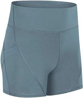 Yoga High Waist Tight Sports Shorts Female Fitness Training Hip Elastic Three-Point Pants,Light Blue(4)