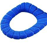 Da.Wa 1 Piezas de Invierno Flocado Cubierta de Asiento del Inodoro Taburete Cerrado Mat Asiento de Inodoro Suave Acolchado Caliente(Azul)