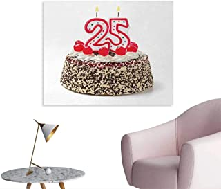 Tudouhoho 25th Birthday The Office Poster Number Candles Twenty Five on Chocolate Cherry Cake Yummy Artwork Print Mural Decoration Red Cream Brown W32 xL24