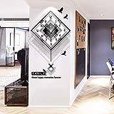 Moderne dekorative Wanduhr mit Pendel,große quadratische einfache Pendeluhr,Holz schwarz weiß für Wohnzimmer Cafe Restaurant,52x81cm (20x32inch)