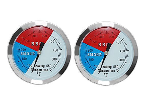 DOZYANT 3 1/8 Inch Barbecue Charcoal Grill Smoker Temperature Gauge Pit BBQ Thermometer Fahrenheit and Heat Indicator for Meat Cooking Port Lamb Beef, Stainless Steel Temp Gauge, 2-Pack
