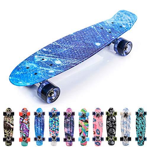 meteor Monopatín Retro plástico Skateboard Completo Patineta para Niños Jóvenes Adultos Mejor Calidad Robusto Ligero Ruedas - Buen Regalo (B-Galaxy)