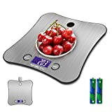 Kitchen Weighing Scales Digital, Adoric Cooking Scales Stainless Premium Steel Larger Platform Can Hang on The Wall (Silver)