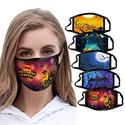 Unisex Halloween Face Wearing,Halloween Custom Facial Decoration for Adults Kids(one Option) (5PC I)