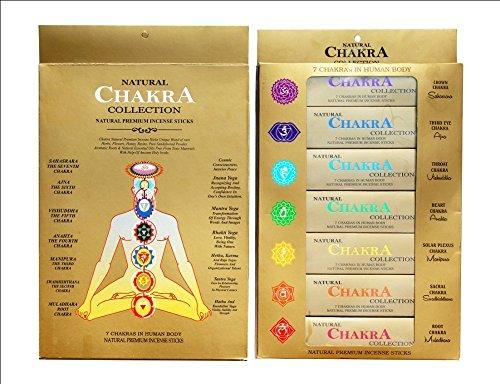 Ayurvedische natur 7Chakra Kollektion | natürlichen und Premium Räucherstäbchen für menschlichen Körper | 7Packungen von 15Sticks je...
