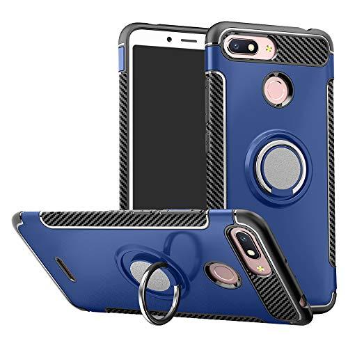 LFDZ Xiaomi Redmi 6 Anillo Soporte Funda 360 Grados Giratorio Ring Grip con Gel TPU Case Carcasa Fundas para Xiaomi Redmi 6 / Redmi 6A Smartphone(con 4 en 1 Regalo empaquetado),Azul