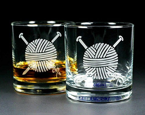 KNITTING YARN Lowball Glasses set of 2 - etched whiskey glass