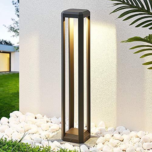 Lucande LED Außenleuchte 'Fery' (Modern) in Alu aus Aluminium (1 flammig, A+, inkl. Leuchtmittel) - Wegeleuchte, Pollerleuchte, Wegelampe, Sockelleuchte