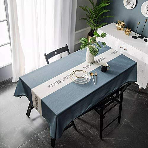XUDOAI Mantel Antimanchas Diseño de Carta Rectangular Mantel, Transpirable, Aislamiento Térmico, Restaurante,Cocina, Cafetería, Mantel de Jardín (135 * 260cm, Blue)