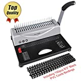 YoWin Binding Machine, [Heavy Duty] 450 Sheet 21 Hole Comb Binding Machine with Starter Kit 100 PCS 3/8'' Comb Binding Spines, Comb Binding Machine Perfect for or Home Use, Paper Punch Binder for Lett