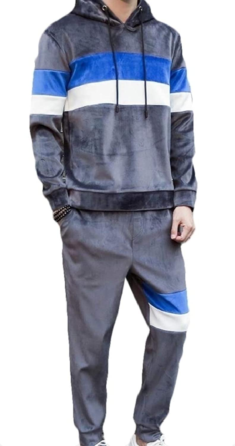 d64816b9840cc Maweisong Men's Tracksuit Velvet Hoodies Coats Sweatshirts and Pants ...
