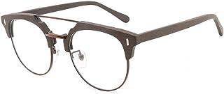 SGJFZD Men's Handmade Wood Grain Plate Nearsight Glasses Frame Vintage Imitation Wood Flat Light Glasses (Color : Coffee)