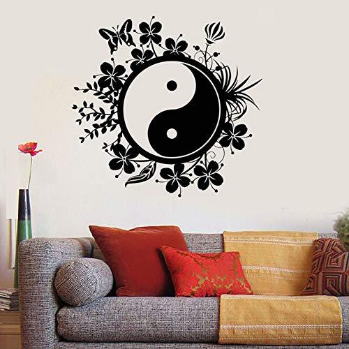 Yin Yang etiqueta de la pared Yoga Buda meditación calcomanía dormitorio Yoga Studio vinilo etiqueta de la pared