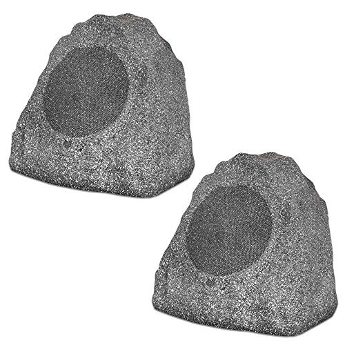 Best Deals! Theater Solutions 2R8G Outdoor Granite 8 Rock 2 Speaker Set for Deck Pool Spa Yard Gard...