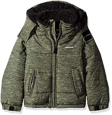 LONDON FOG Boys' Little Warm Winter Jacket with Cozy Lining, Olive, 5/6