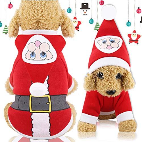 Dusenly Disfraz de perro de Navidad,  otoño e invierno,  con botones de Papá Noel,  chaqueta con capucha,  ropa de perro y gato,  suéter de invierno para mascotas y orejas para cachorros (mediano)