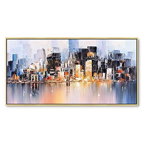 FL Olieverf, puur handgeschilderd, stad, 50X100cm, abstract patroon, het platform, huisdecoratie