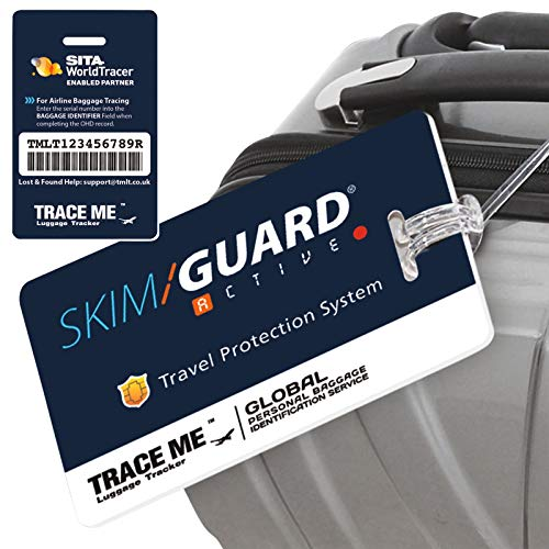 SkimGuard Trace Me Luggage Tracker Tag Identity Label ID Card Baggage Travel Airport Lost Bag