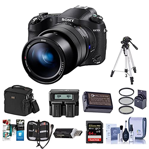 Sony Cyber-Shot DSC-RX10 IV Digital Camera Black - Bundle with Camera Case, 72mm Filter Kit, 64GB SDXC U3 Card, Spare Battery, Tripod, Memory Wallet, Card Reader, Cleaning Kit, Dual Charger, Software
