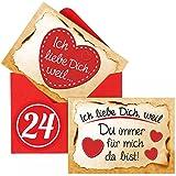 Adventino Adventskalender mit 24 Karten Ich Liebe Dich, Weil in 24 roten Umschlägen für Männer, Frauen, Paare