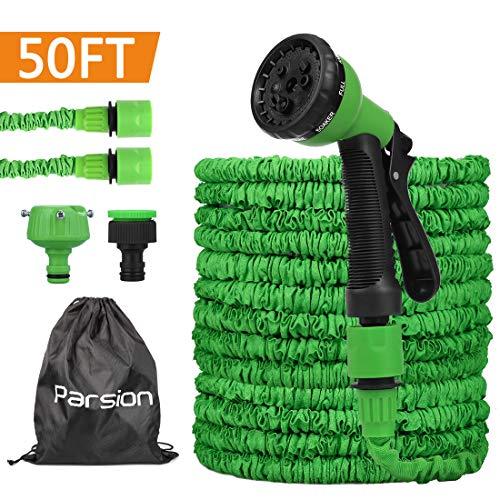 Parsion Gartenschlauch Flexibler 15m 50FT Dehnbarer Flexischlauch Flexi Wasserschlauch Flexibel Multisfunktionsbrause mit 7 Funktionen für Garten (Grün, 15m)