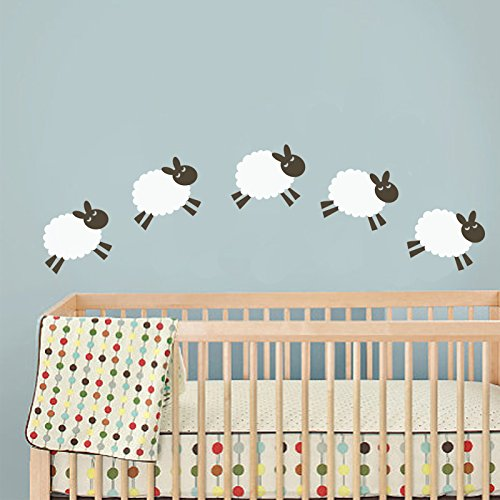Vinyl Baby Nursery Wall Decal Sheep Wall Decal Sheep Wall Sticker Wall Mural Wall Graphic Home Wall Art Decoration 1(head and foot:Dark Brown;body:White) by WallsUp