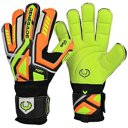 Renegade GK Fury Volt Goalie Gloves with Pro-Tek Finger Savers | 4mm Giga Grip & 4mm Duratek | Neon Yellow, Orange, Black Football Goalkeeper Gloves (Size 8, Youth-Adult, Flat Gecko Cut, Level 4)