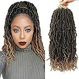 18 Inch Faux Locs Crochet Hair Most Natural Goddess Locs Crochet Braids 6 Packs/lot Premium Fiber Soft Locs Synthetic Hair Hair Extensions (18'6Pcs-M27)