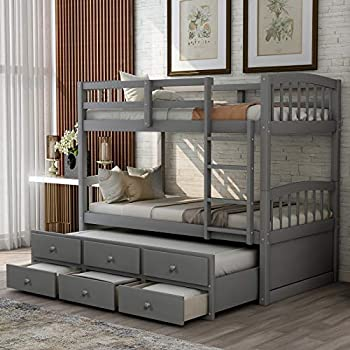 P PURLOVE Twin Over Twin Bunk Bed with Twin Trundle Bed Wood Bunk Bed Frame with Ladder Safety Rail 3 Storage Drawers for Teens  Gray