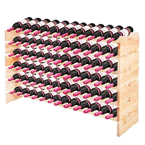 GOPLUS Weinregal Holz für 72 Flaschen Stapelbar erweiterbar, Weinschrank mit Ablage, Weinständer Wand Holz, Flaschenständer Weinhalter Flaschenregal, für Keller Esszimmer Restaurants Bars