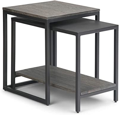 Simpli Home Bellgrove Solid Mango Wood and Metal 16 inch wide Square Modern Industrial 2 Pc Nesting Table in Light Charcoal, Fully Assembled, for the Living Room and Bedroom