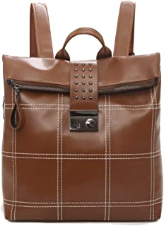 Fashion Ladies Pu Backpack Retro Plaid Fashion Simple Zipper Large Capacity Daypacks (Color : Yellow, Size : 30 * 14 * 31cm)