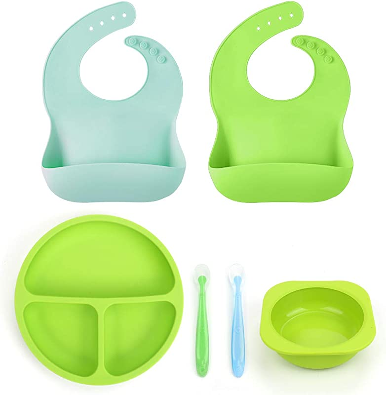 Baby Toddler Feeding Set BPA Free Silicone Bibs Plates Bowls Spoons Divided Plate Bowl Soft Spoon Aids Self Feeding Adjustable Food Catching Bib Waterproof Spill Resistant Baby Shower Gift Set