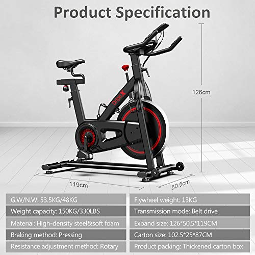 Dripex Indoor Cycling Magnetic Resistance Exercise Bike (2020 Upgraded Version), Ultra-Silent, Heavy Duty Home Gym Stationary Bike, Capacity 330 LBS, LCD Monitor, Pulse Sensor, Water Bottle Holder