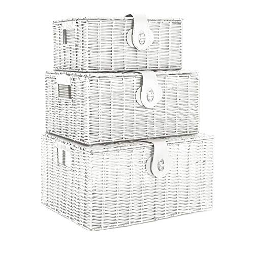 dytrading Set of 3 Wicker Storage Baskets With Lid Lock Resin Woven Basket Gift Hamper Box (White)