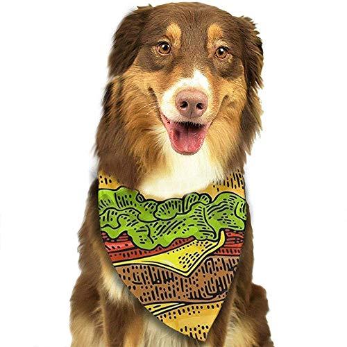 YAGEAD Cane Bandana Cucciolo e Bandane da Compagnia, Burger Classico Include cotoletta di Pomodoro con cotoletta e Sciarpa per Animali Color Insalata