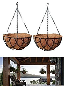 MTB Garden Hanging Baskets 16 Inches - Vintage Geo with Coco-Liner Pack of 2 Hanging Planter