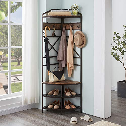 Homissue Vintage Corner Hall Tree with Shoe Bench, Entryway Coat Rack with 6 Double Hooks, Retro Brown