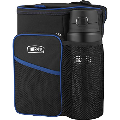 THERMOS Lunch Cooler and STAINLESS KING Direct Drink Bottle Combination Set, Black