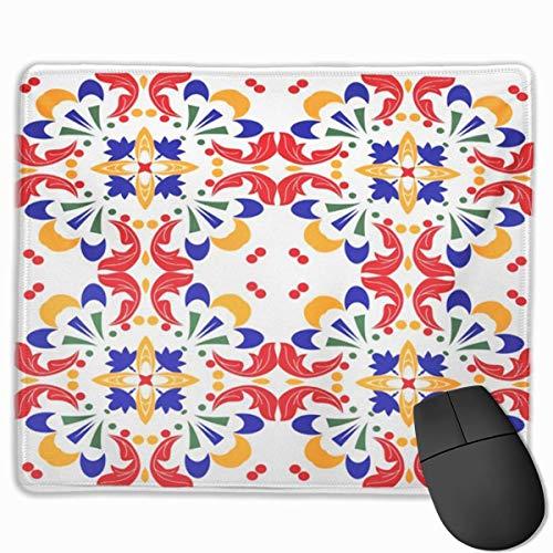 Nettes Gaming-Mauspad, Schreibtisch-Mauspad, kleines Mauspad für Laptop-Computer, Mausmatte Abstrakte mexikanische Talavera-Fliesen und indische Muster Arabesque Ethnic Floor