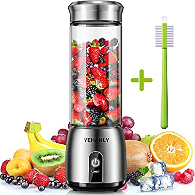 Portable Blender, YEHANLY Stainless Steel Mini Blender for Smoothie, Electric Juicer Cup Personal Size with USB Rechargeable, Six 3D Blades for Shakes Smoothies and Baby Food (BPA Free) from YEHANLY