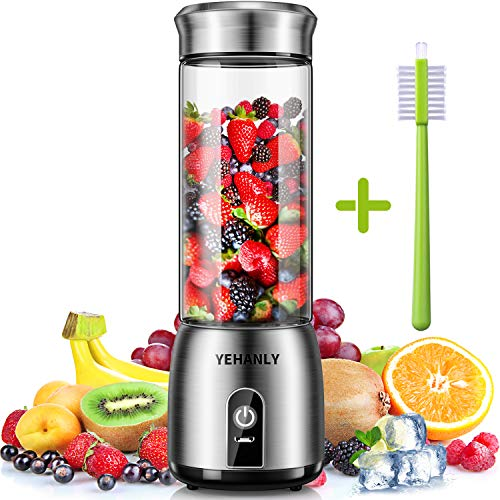 Portable Blender YEHANLY Stainless Steel Mini Blender for Smoothie, Electric Juicer Cup Personal Size with USB Rechargeable, Six 3D Blades for Shakes Smoothies and Baby Food (BPA Free)