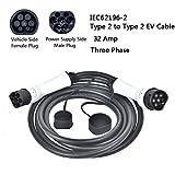 TOPQSC Cables de Carga para vehículos eléctricos, Tipo 2 a Tipo 2 Conectores de Carga para vehículos eléctricos IEC62196-2 (32Amp, trifásico, 22KW)