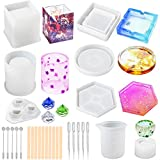 LotFancy Epoxy Resin Molds, 28pcs Silicone Coaster Ashtray Molds for Resin Casting, DIY Art Crystal Diamond Plant Pot Pen Candle Soap Holder Molds, Including Measuring Cup, Droppers and Stirrers