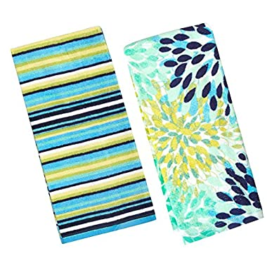 Fiesta Calypso Turquoise Floral & Cool Blue Stripe Kitchen Towel Set