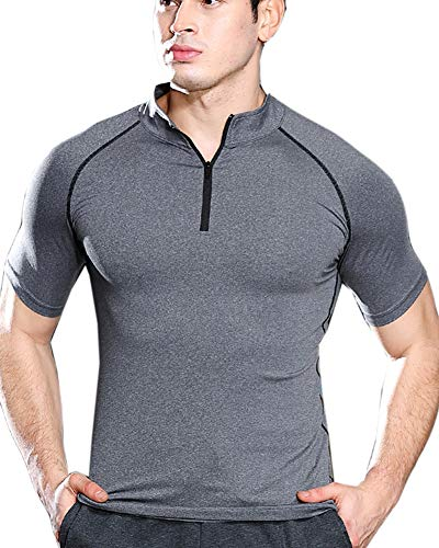 Aden Maglia Compressione Uomo, Maglietta a Manica Corta Asciugatura Rapida Cerniera Fitness T-Shirt da Sport