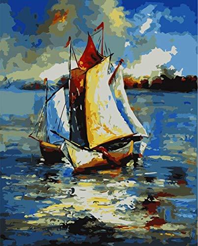 TGHYU Bricolaje Pintura Adult Bricolaje Pintura Digital Adultos Niños Pintura por Número Kits Barco De Vela 16 * 20 Pulgadas (Sin Marco)