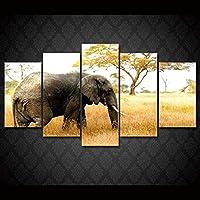 5パネル大きなキャンバス絵画ウォールアートModernAfricaElephantsGicleeキャンバスプリントアートワーク写真写真リビングルーム寝室家の装飾