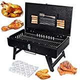 MAZORIA Briefcase Style Folding Compact Picnic Barbeque Grill, Tandoor with 8 Skewer, 1 Metal Grill, 1 pkt Charcoal, 1 Glove, 1 Tong
